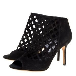 Auth. JIMMY CHOO Black Suede Drift Cutout Booties